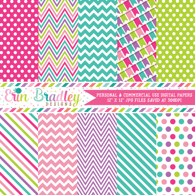 Bounce House Girls Digital Paper Pack