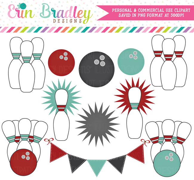 Commercial Use Graphics Red Teal Gray Bowling Clipart