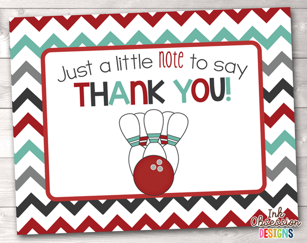 Bowling Party Red Printable Thank You Cards