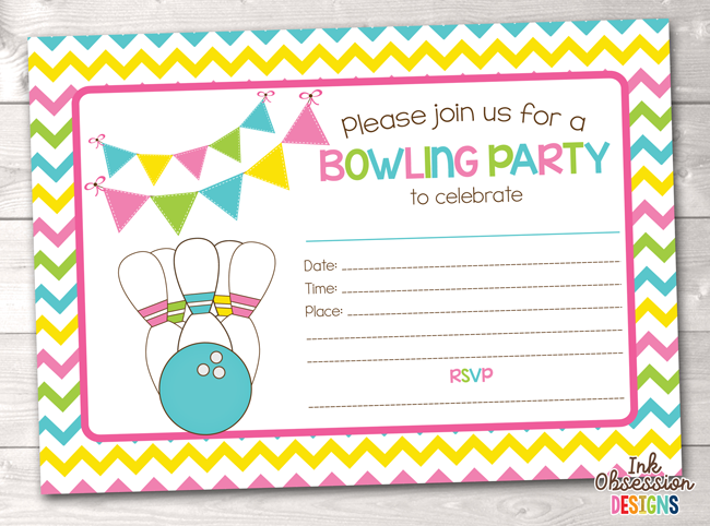 Bowling Party Printable Birthday Party Invitation