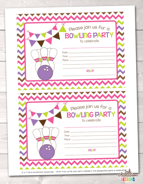 Girls Pink Bowling Party Printable Birthday Party Invitation
