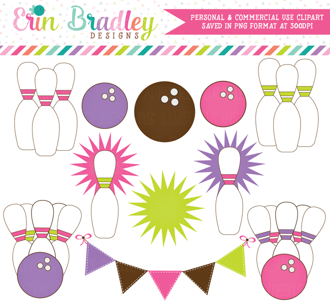 Commercial Use Pink Girls Bowling Clipart