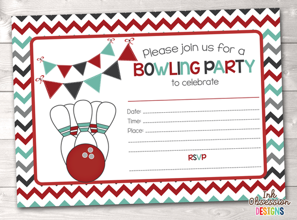 Red Bowling Party Printable Birthday Party Invitation