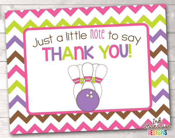 Bowling Party Pink Printable Thank You Cards