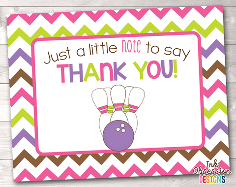 Birthday party thank you cards erin bradleyink obsession designs sale bowling party pink printable thank you cards bookmarktalkfo Gallery