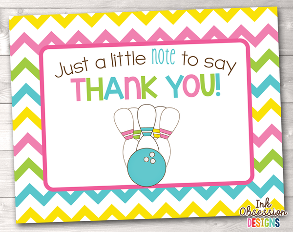 Bowling Party Yellow Printable Thank You Cards