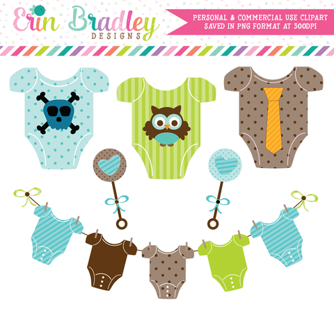 Baby Boy Tees and Rattles Clipart
