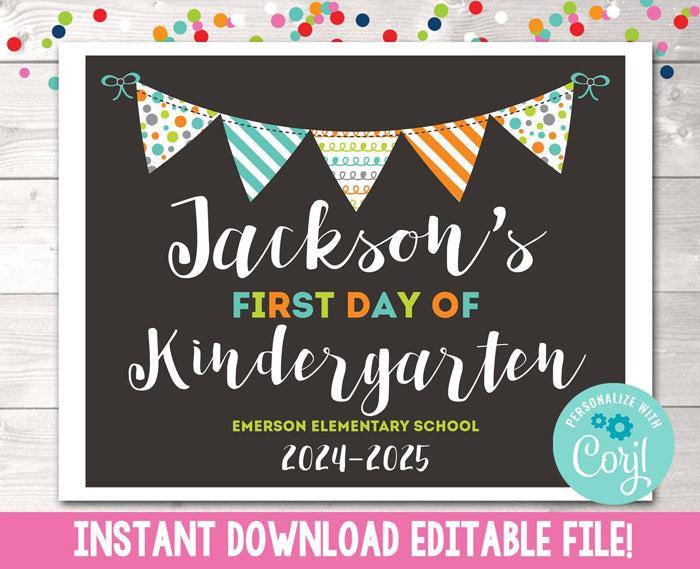Editable Boys First Day of School Sign Instant Download