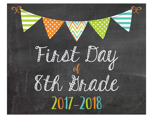 Boys First Day of 8th Grade School Sign Printable PDF