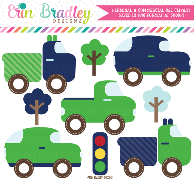 Transportation Clipart Cars Trucks Trees
