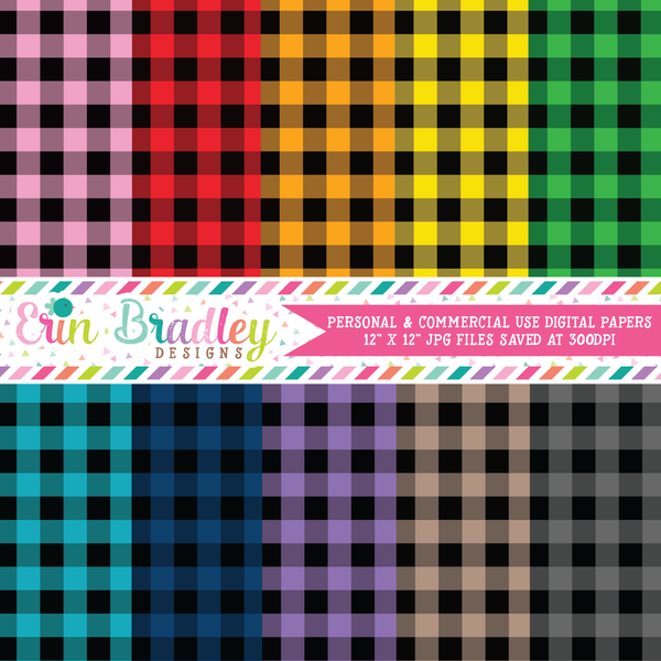 Buffalo Check Digital Paper Pack - Set Two - 40 Colors