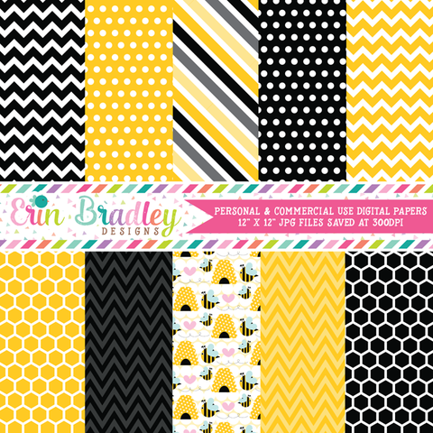 Bumble Bees Digital Paper Pack
