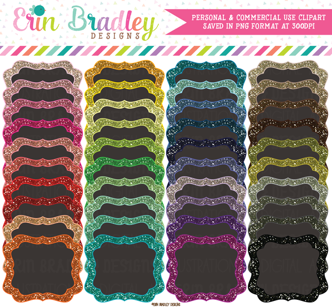 Glitter and Charcoal Frames Clipart