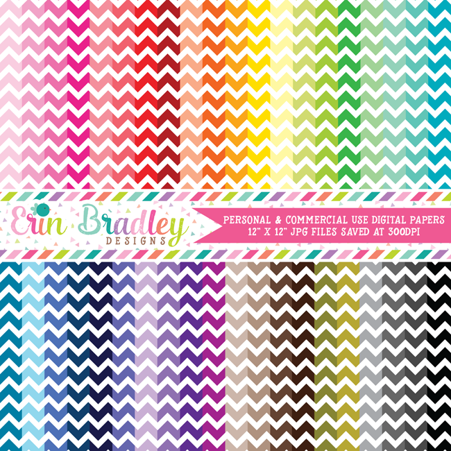 Chevron Digital Paper Pack Bundle
