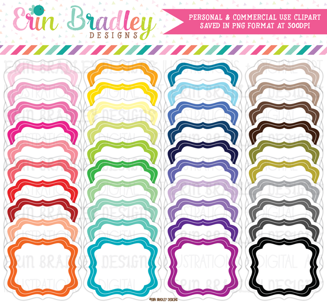 Colorful Frames Clipart with Drop Shadow