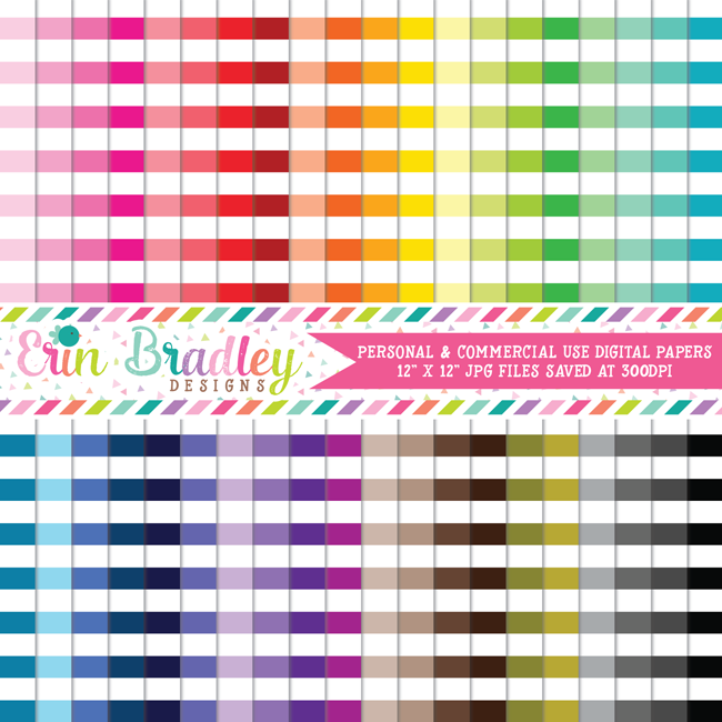 Horizontal Stripes Digital Paper Pack Bundle