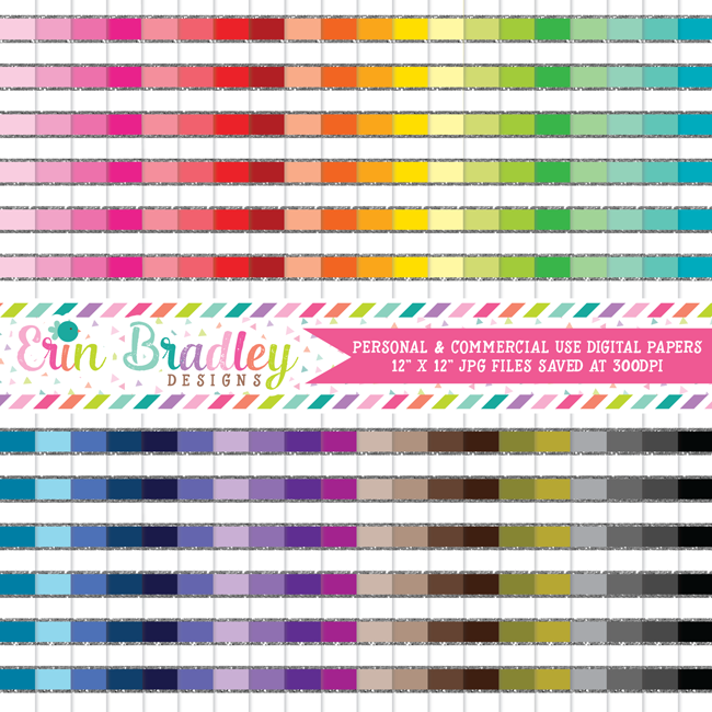 Silver Glitter Stripes Digital Paper Pack Bundle