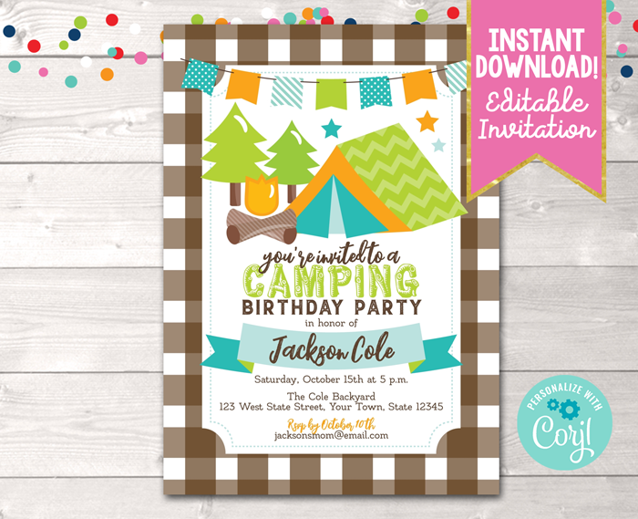 Editable Camping Birthday Party Invitation Blue Instant Download Digital File
