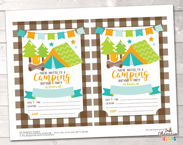 Blue Camping Printable Birthday Party Invitation