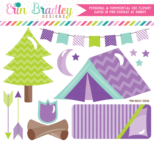Camping Clipart Set Purple