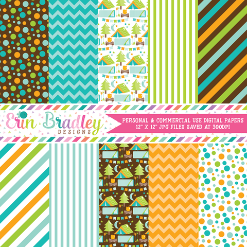 Blue Camping Party Digital Paper Pack