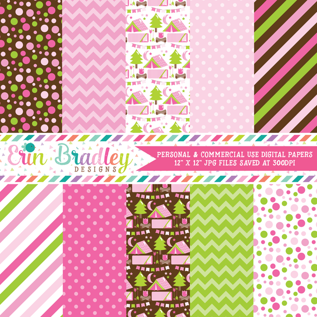 Pink Camping Party Digital Paper Pack