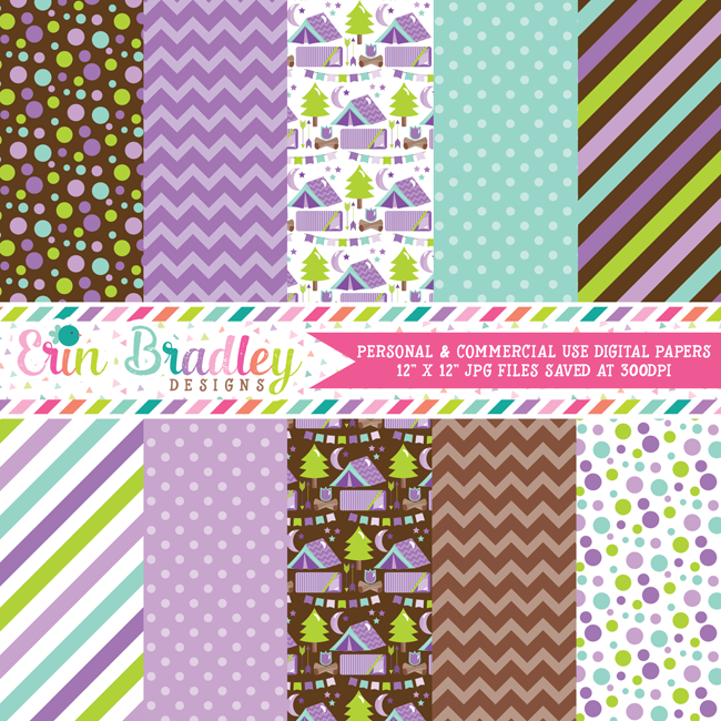 Purple Camping Party Digital Paper Pack