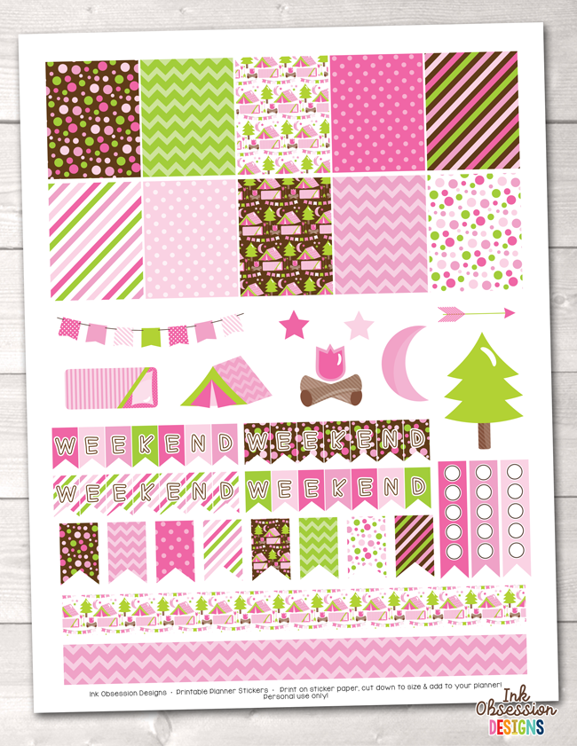 Pink Camping Printable Planner Stickers Weekly Kit