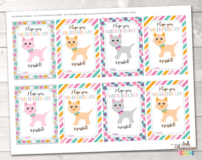 Kitty Cats Printable Valentines Day Cards