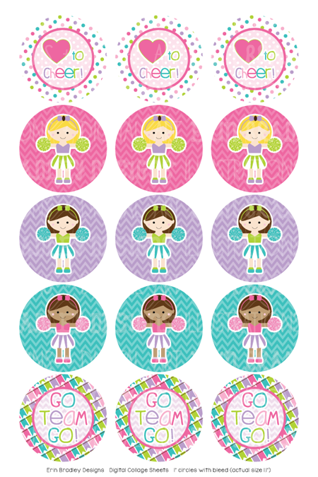 Cheerleaders Digital Bottle Cap Images