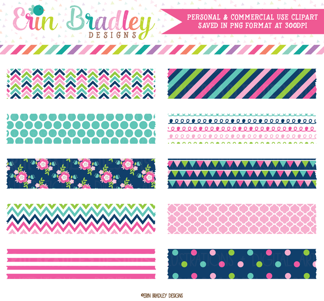 Cheery Day Digital Washi Tape Clipart