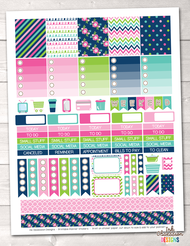 Cheery Day Printable Planner Stickers Weekly Kit