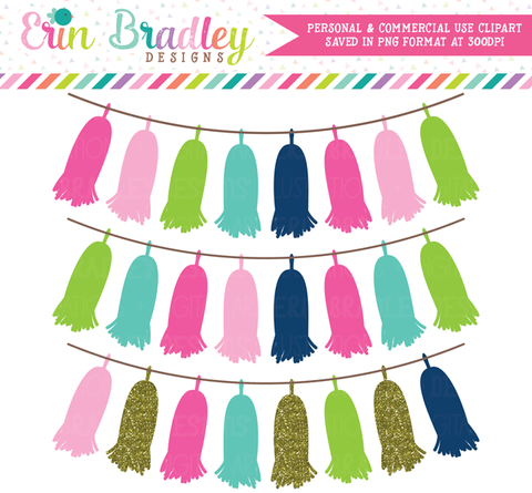 Cheery Day Tassel Banner Clipart Commercial Use Graphics