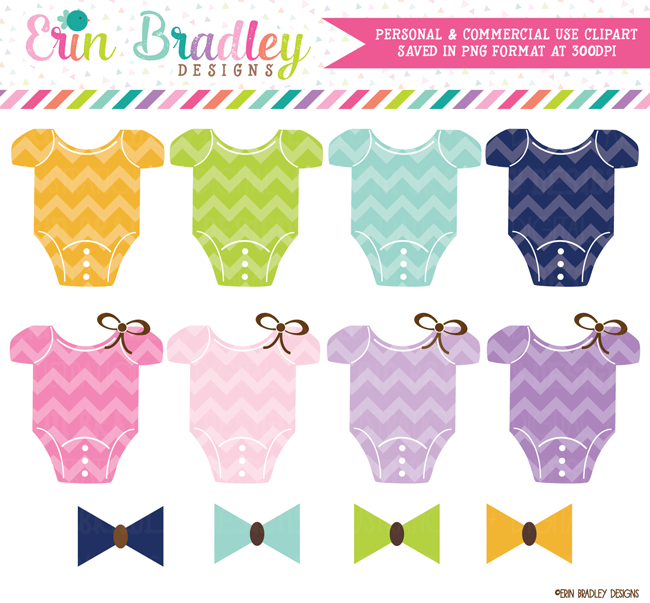 Chevron Baby Tees and Bow Ties Clipart
