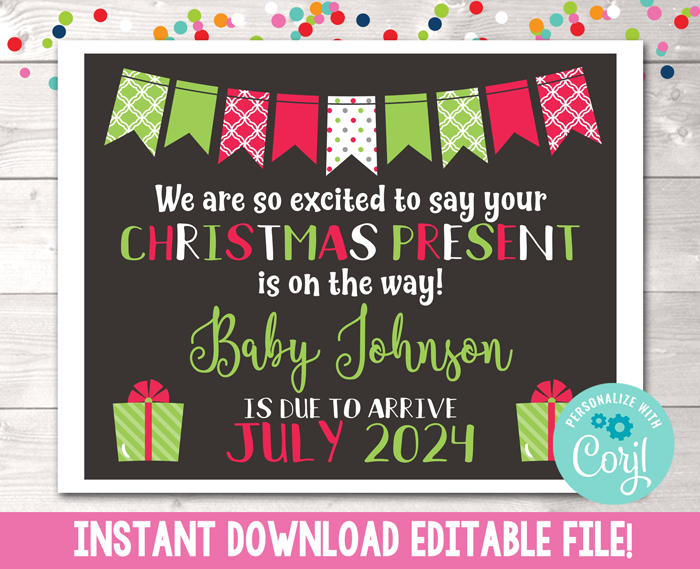 Editable Christmas Pregnancy Reveal Announcement Instant Download