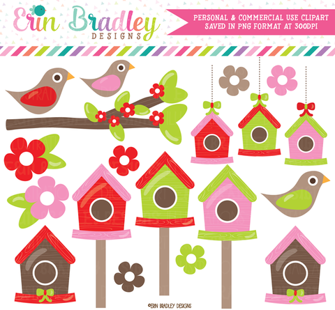 Christmas Bird Houses Clipart