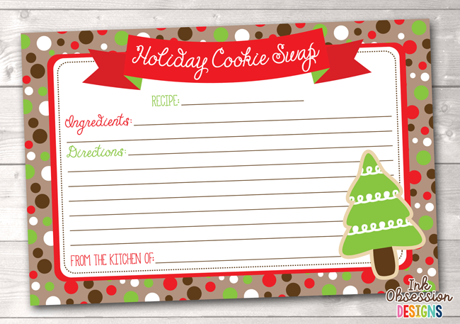 Christmas Kraft Spotty Dots Printable Holiday Cookie Party Swap Recipe Cards