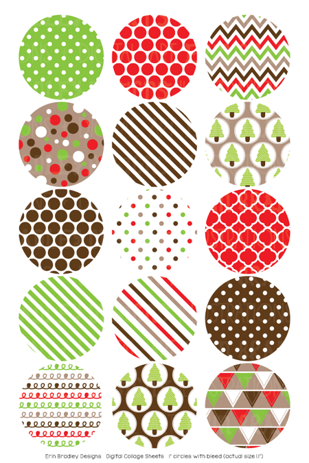 Christmas Kraft Digital Bottle Cap Images