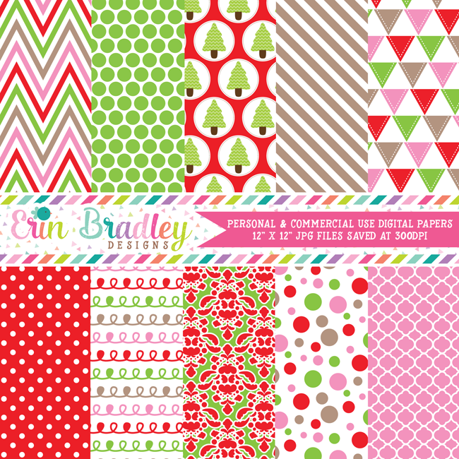 Christmas Red Pink Green Digital Papers