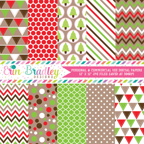 Christmas Red Green Brown Digital Papers