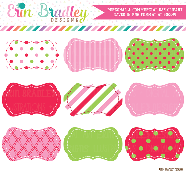 Christmas Red Green Pink Digital Labels Clipart