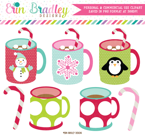 Holiday Mugs Christmas Clipart Commercial Use OK