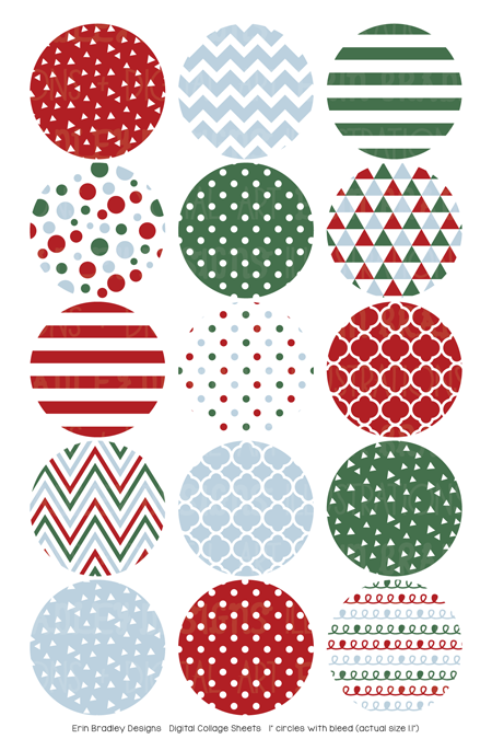 Christmas Red Blue Green Digital Bottle Cap Images