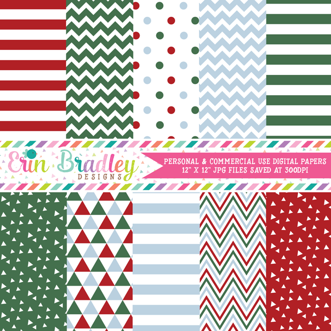 Christmas Red Green & Blue Digital Paper Pack