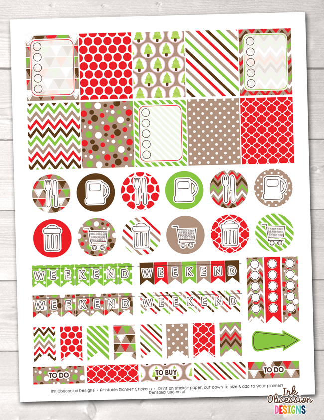 Christmas Printable Planner Stickers Weekly Kit