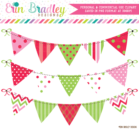 Christmas Red Green Pink Bunting Clipart Banners