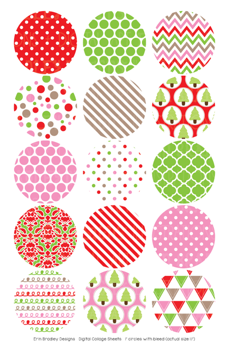 Christmas Red Pink Green Digital Bottle Cap Images