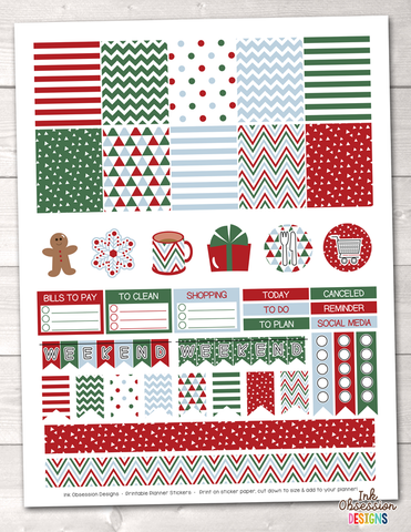 Christmas Red Green Blue Printable Planner Stickers Weekly Kit