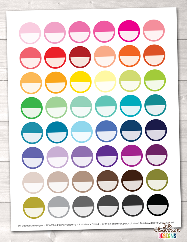 Circles Printable Planner Stickers Instant Download PDF