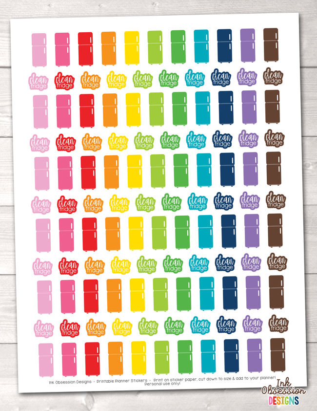 Clean Fridge Functional Printable Planner Stickers